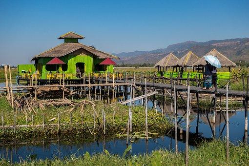 Water, Lake, Hut, Nature, House, Myanmar