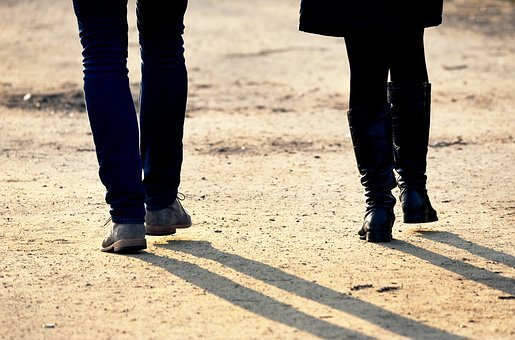 People, Man, Woman, Walking, Couple, Together, Leg