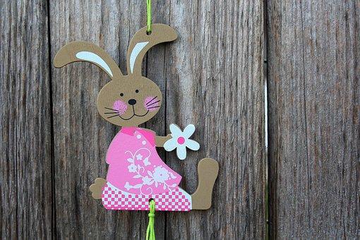 Bunny, Ornament, Decoration, Pendant, Wooden, Rustic