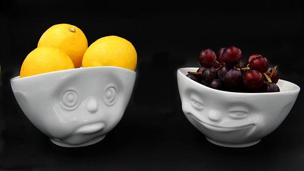 Lemon, Grapes, Sad Face, A Smiling Face, Fruit, Food