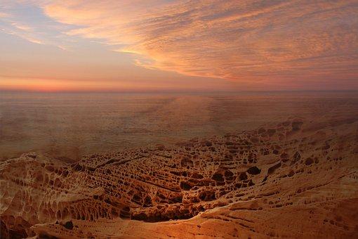 Desert, Panorama, Sunset, Landscape, Dusk, Sand, Sky