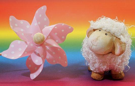 Background, Colorful, Pinwheel, Sheep, Curious