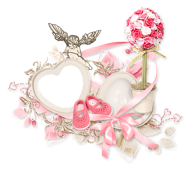 Cluster, Heart, Cupid, Angel, Rose, White, Pink, Tape