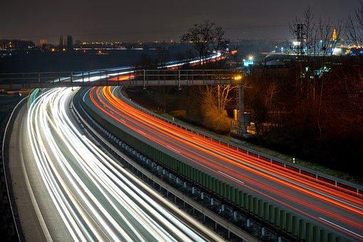 Highway, Night, Lights, Tracks, Lines, Lines Of Light