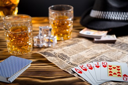 Table, Glass, Whiskey, Cards, Full House, Ice, Hat