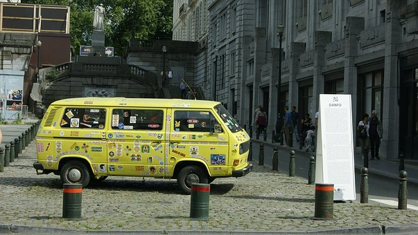Auto, Truck, Van, Old, Yellow, Stickers, Street