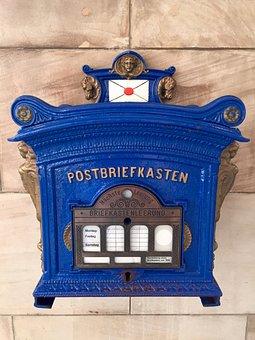 Mailbox, Antique, Post, Letter Boxes, Blue