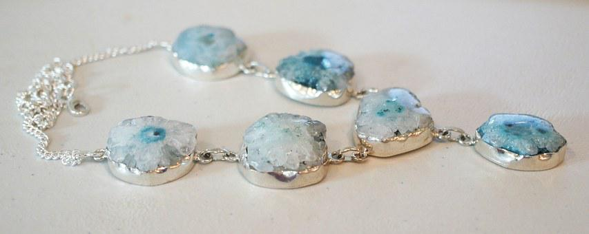 Solar Quartz Geode, Stone, Necklace, Blue, Gem