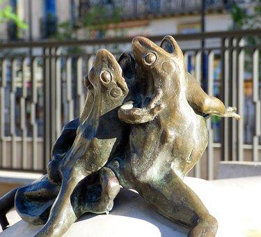 Sculpture, Bronze, Frogs, Max Blondat, Dijon