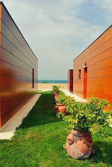 Wine Cellar, Hotel, Modern, Architecture, Wood, Bronze