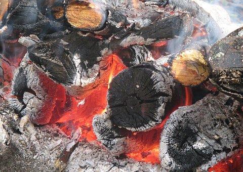 Koster, Fire, Flame, Coals, Firewood, Burns, Bonfire