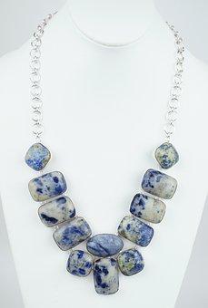 Lapis, Sodalite, Stone, Necklace, Choker, Silver