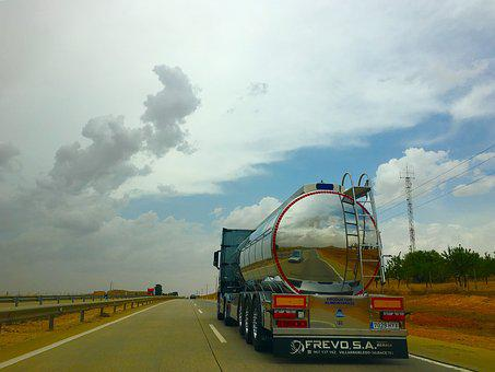 Truck, Road, Highlights, Clouds, Cuba, Cistern