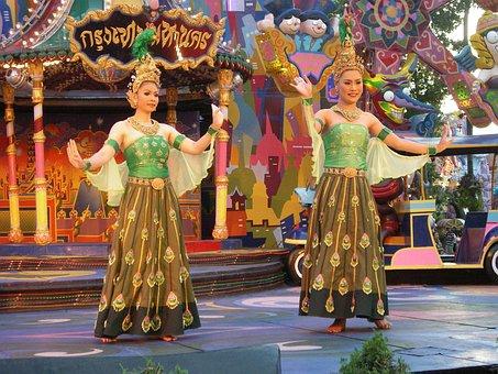 Dancers, Asian, Thai, Colour, Vibrant, Dolls, Thailand