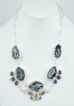 Geode, Drusy, Stone, Necklace, Choker, Silver, Sterling