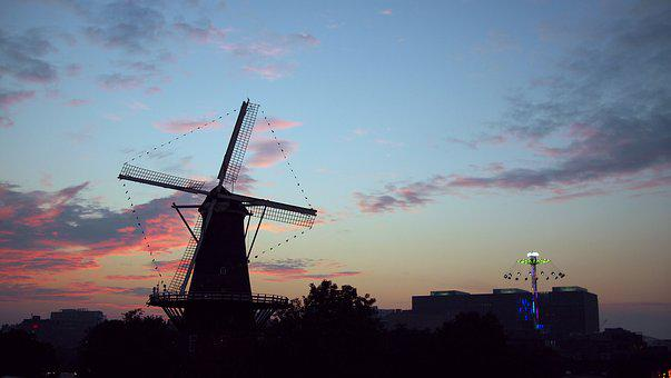 Windmill, Netherlands, Holland, Sky, Night City, Dutch