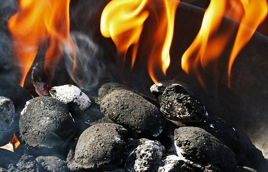 Charcoal Fire, Charcoal, Briquettes, Fire, Flames