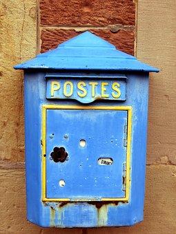 Mailbox, Old, Blue, France, Alsace, Letter Boxes