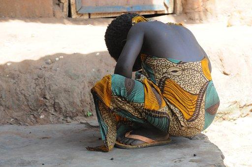 Girl, Black, African, Hide, Africa, Back, Capulana