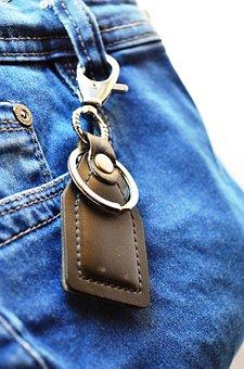 Key Fob, Jeans, Blue, Pocket, Tag, Fashion, Clothing