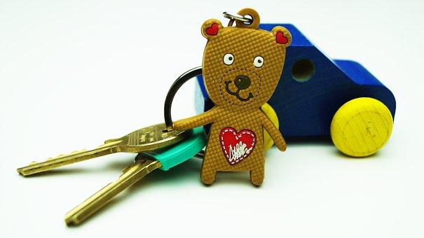 Car, Keys, Car Key, Teddy, Toy, Bear, Fob, Wooden
