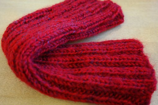 Cuff, Garment, Knitted, Knitted Fabric, Red, Put