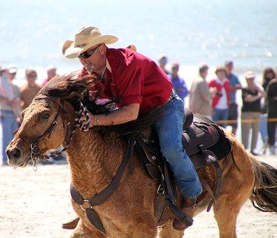 Cowboy, Horse, Beach, Western, Riding, Ride, Male, Man