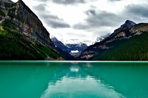 Lake Louise, Canada, Boat, Canoe, Fishing, Mountains