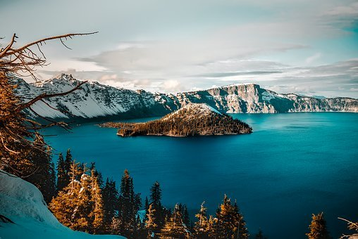 Crater Lake, Oregon, Mountains, Winter, Snow, Ice