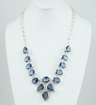 Mystic Topaz, Stone, Necklace, Choker, Silver, Sterling