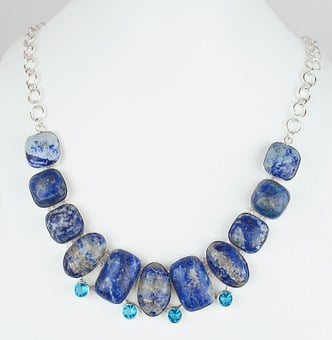 Lapis, Stone, Necklace, Choker, Silver, Sterling, White
