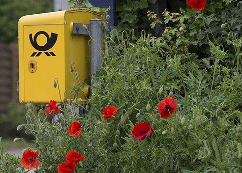 Post, Federal Post Office, Mailbox, Poppy, Klatschmohn