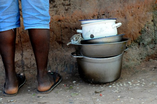 Black, Dishes, Dirty Bowl, Lunch, Poverty, African