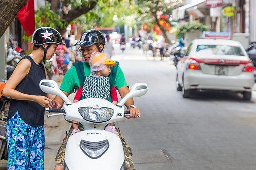 Scooter, Suzuki, Family, Safety, Child, Helmet