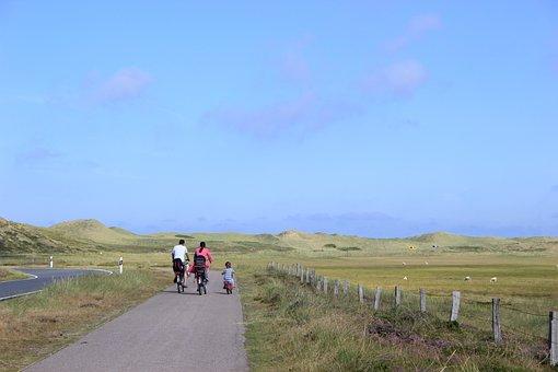 Family, Cycling, Bike, Landscape, Summer, Sky
