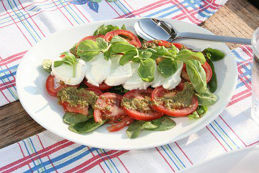 Tomato Salad, Mozzarella, Salad, Basil, Tomato, Pesto