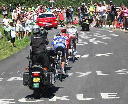 Tour De France, Tv Crew, Stage Winner, Tv Crew On Bike