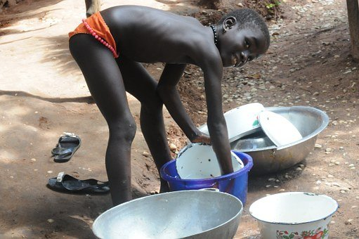 Girl, Africa, Friendly, Smile, Dishes, Washing Up