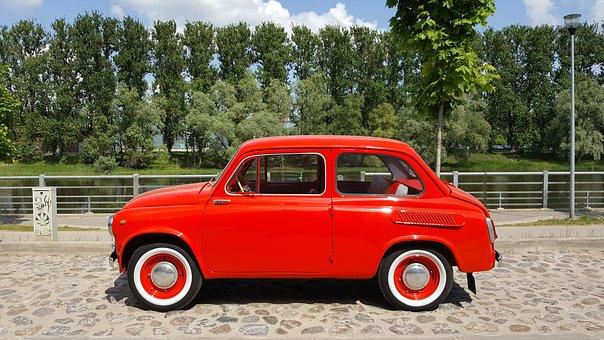 Red, Car, Zaz, 965, Red Car, Automobile, Retro, Shiny