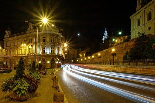 Street, Lit, City, Travel, Light, Architecture, Traffic