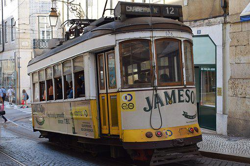 Tram, Tramway, Street, City, Travel, Lisbon, Portugal