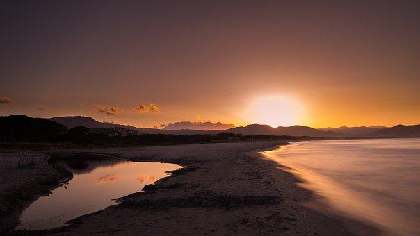 Sunset, Waters, Dawn, Dusk, Nature, Corsica, Sardinia
