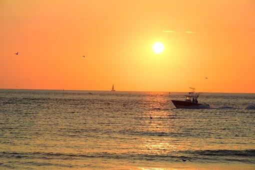 Sunset, Water, Sea, Dawn, Ocean, Sun, Dusk, Evening
