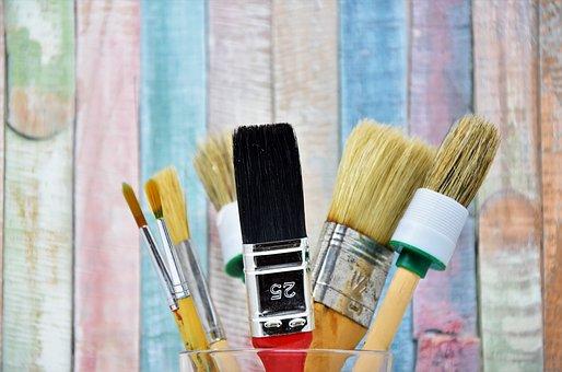 Brush, Flat Brush, Pointed Brush, Paint, Delete