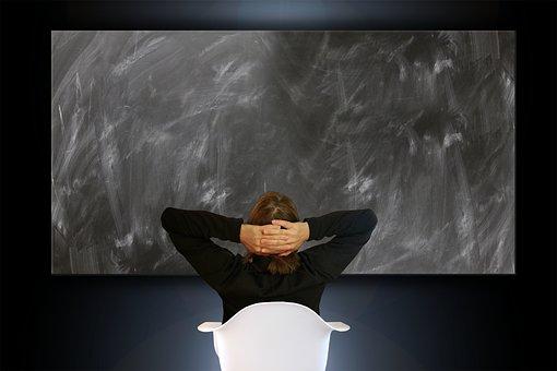 Woman, Board, Empty, School, Teaching, Viewing, Help