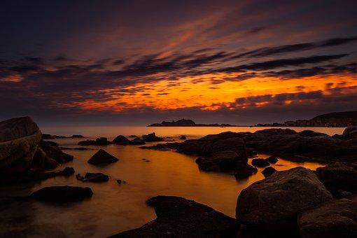 Sunset, Dusk, Dawn, Evening, Waters, Corsica, Sardinia
