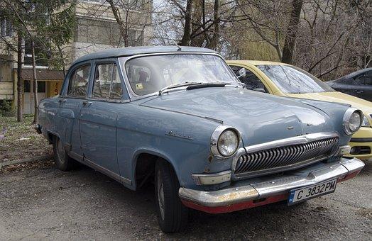 Gaz, 1962, Volga, Car, Russian, Blue, Chrome, Tires