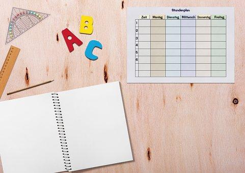 Timetable, Notebook, Table, Ruler, Geodreieck, Pencil