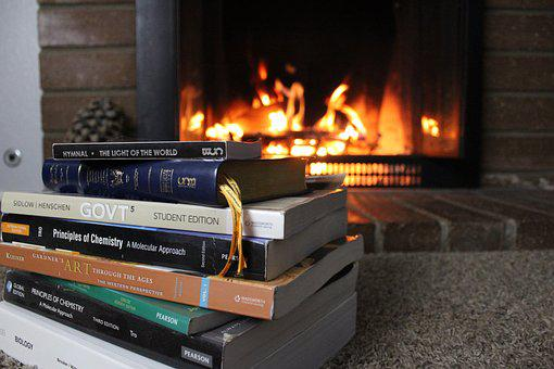 Heat, Fireplace, Flame, Study, Homework, Bible, Hymns