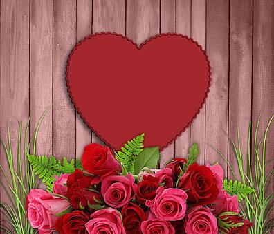 Love, Rosa, Romantic, Flower, Bouquet Of Flowers, Wood